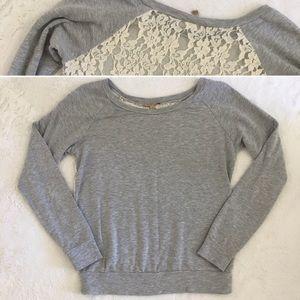 Anthropologie Bordeaux lace back sweatshirt medium